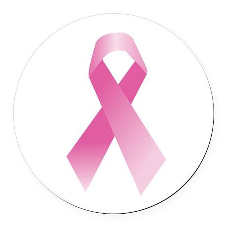 Breast Cancer Awareness Pink Ribbon Round Car Magn
