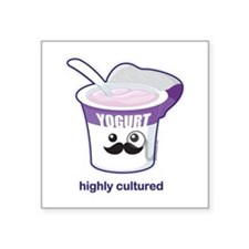 "Highly Cultured Square Sticker 3"" x 3"""