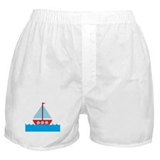 Red Sailboat in Water Boxer Shorts