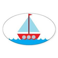 Red Sailboat in Water Decal
