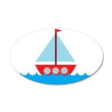 Red Sailboat in Water 35x21 Oval Wall Decal