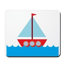 Red Sailboat in Water Mousepad