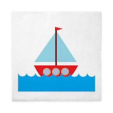 Red Sailboat in Water Queen Duvet