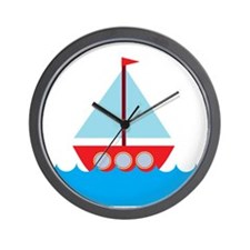 Red Sailboat in Water Wall Clock