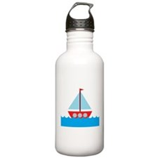 Red Sailboat in Water Water Bottle