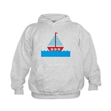 Red Sailboat in Water Hoodie