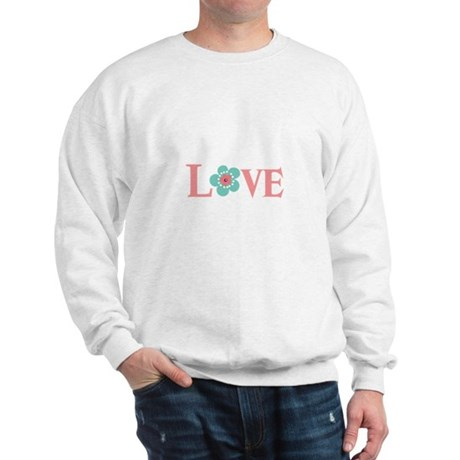 Turquoise and Pink Love Flower Sweatshirt