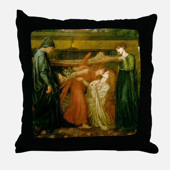Dantes Dream by Rossetti Throw Pillow