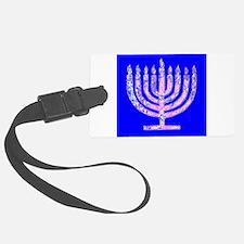 Blue Menorah Hanukkah 47 Designer Luggage Tag