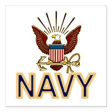 """USN Navy Eagle Gold Square Car Magnet 3"""" x 3"""""""