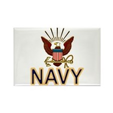 USN Navy Eagle Gold Rectangle Magnet