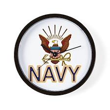 USN Navy Eagle Gold Wall Clock
