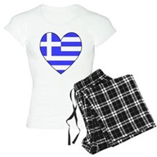 Greek Flag Heart Valentine Pajamas