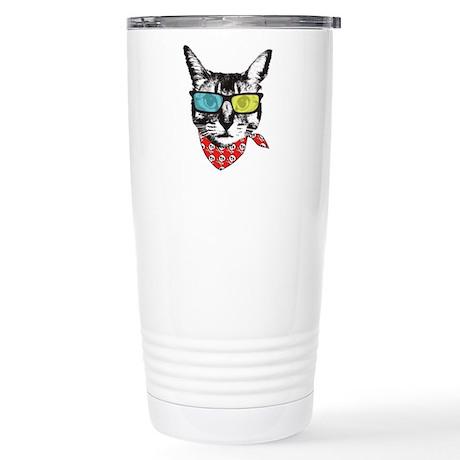 Cat with sunglass Stainless Steel Travel Mug