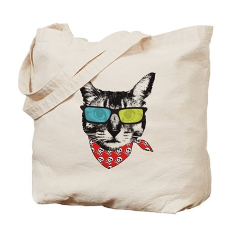 Cat with sunglass Tote Bag