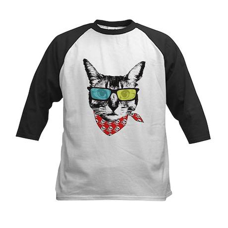 Cat with sunglass Kids Baseball Jersey