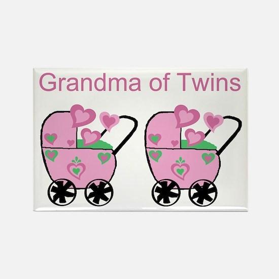 Grandma of Twins (Girls) Rectangle Magnet