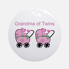 Grandma of Twins (Girls) Ornament (Round)