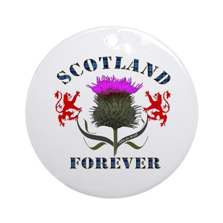 Scotland Forever Thistle Ornament (Round)