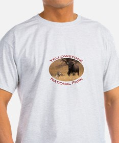 Yellowstone National Park...Bison & Wolf T-Shirt