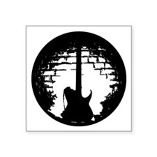 """Guitar Silhouette Square Sticker 3"""" x 3"""""""