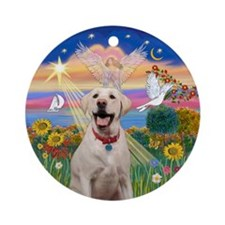 AutumnAngel-Yellow Lab (Bz) Ornament (Round)