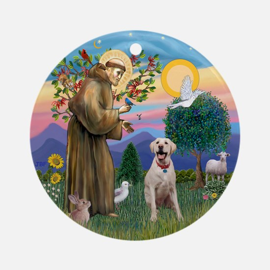StFrancis-YellowLab (Bz) Ornament (Round)