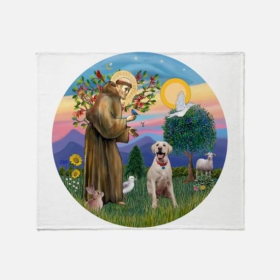 StFrancis-YellowLab (Bz) Throw Blanket