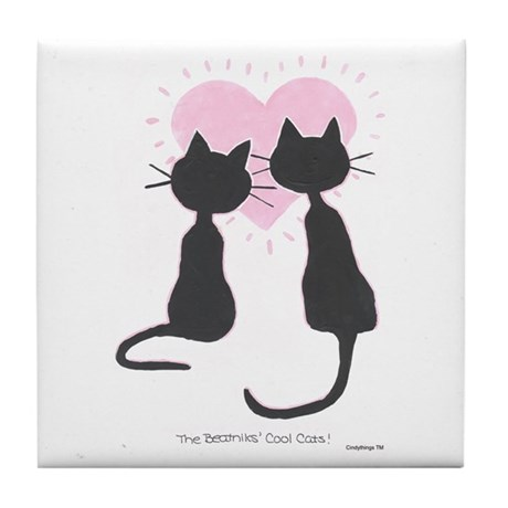 Beatniks' Cats Tile Coaster