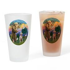 StFrancis-YellowLab (Bz) Drinking Glass