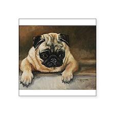 "Pug Dog Square Sticker 3"" x 3"""
