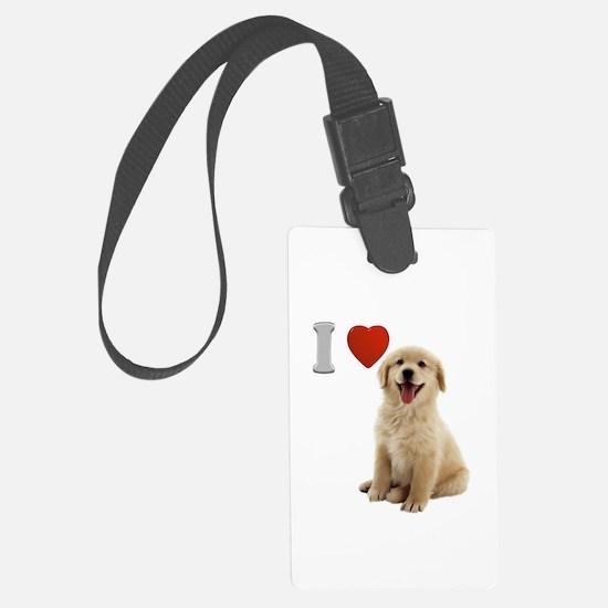 I Love Golden Retriever Puppy Luggage Tag