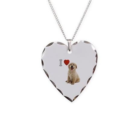 I Love Golden Retriever Puppy Necklace Heart Charm