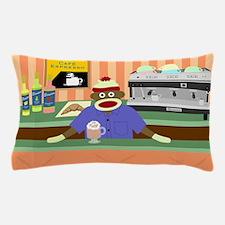 Sock Monkey Coffee Shop Pillow Case