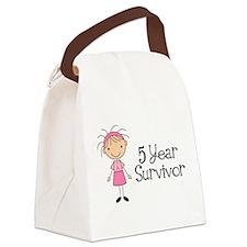 5 Yr Survivor Breast Cancer Canvas Lunch Bag