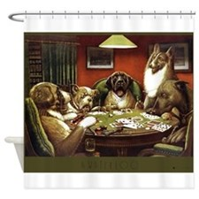 Waterloo Dog Poker Shower Curtain