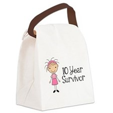 10 Year Survivor Breast Cancer Canvas Lunch Bag