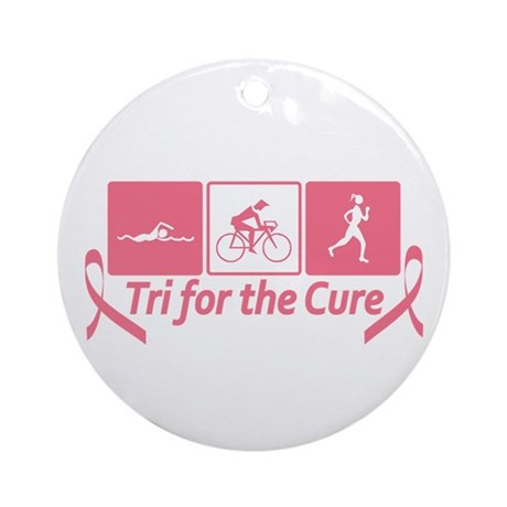 Tri For The Cure (Breast Cancer) Ornament (Round)