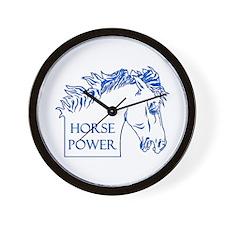 Horse Power (blue) Wall Clock