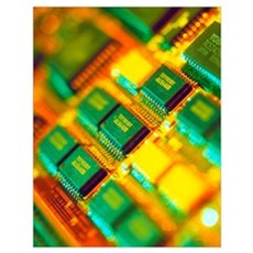View of a circuit board from a Macintosh computer Poster