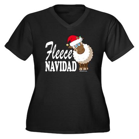 Fleece Navidad (white) Women's Plus Size V-Neck Da
