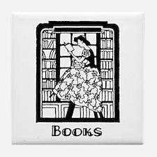 Books - Retro Librarian Readi Tile Coaster