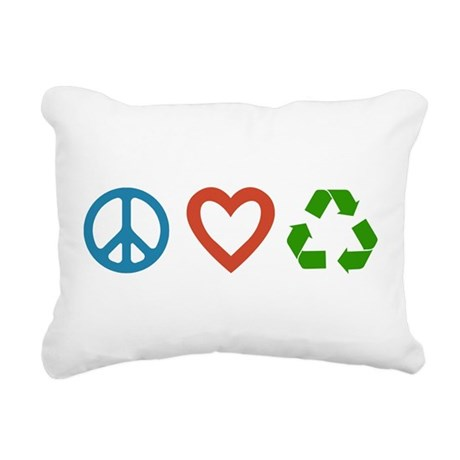 Peace Love Recycle Rectangular Canvas Pillow