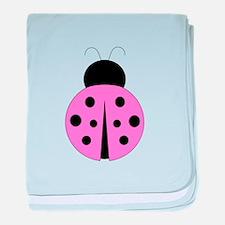 Hot Pink and Black Ladybug baby blanket