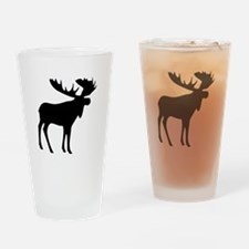 Black Moose Drinking Glass