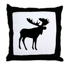Black Moose Throw Pillow