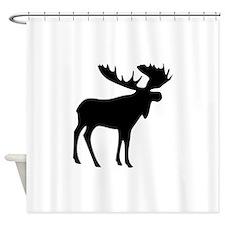 Black Moose Shower Curtain
