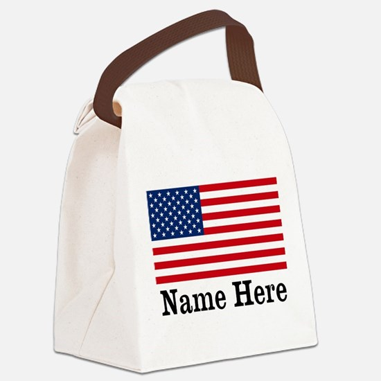 Personalized American Flag Canvas Lunch Bag