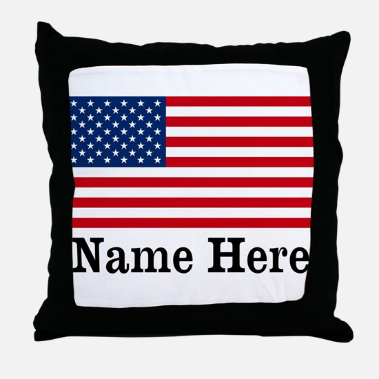 Personalized American Flag Throw Pillow