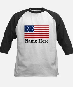 Personalized American Flag Kids Baseball Jersey